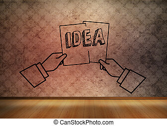 tom, räcker, idé, brun, grafisk, holdingen, två, rum
