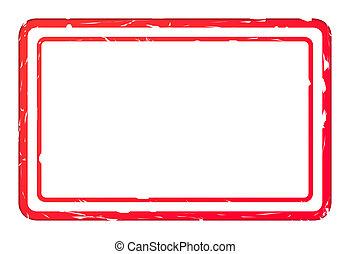 tom, röd, använd, affär, stämpel