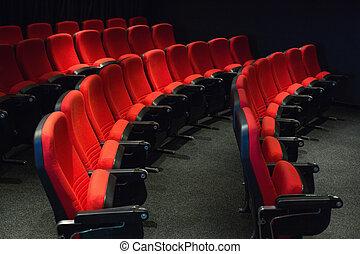 tom, ror, av, röd, sittplatser