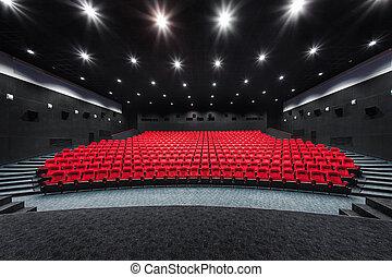 tom, ror, av, röd, teater, eller, film, seats., stol, in, bio, hall., komfortabel, fåtölj