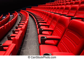 tom, ror, av, röd, teater, eller, film, sittplatser