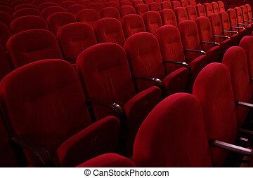 tom, ror, av, röd, teater, eller, film, sittplatser, sida se