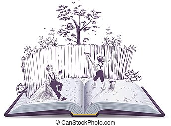 Tom Sawyer paints fence open book illustration. Vector...