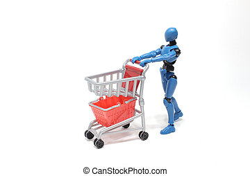 tom, shoppa vagnen, supermarket, realistisk