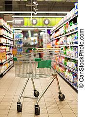 tom, shoppa vagnen, supermarket
