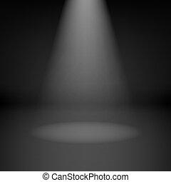 tom, skumt rum, med, spotlight