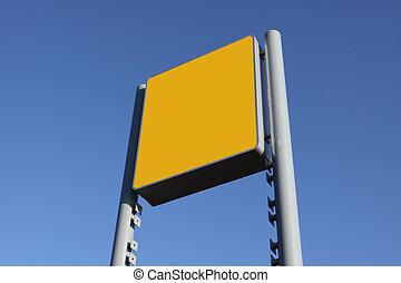 tom, sky, gul, mot, underteckna