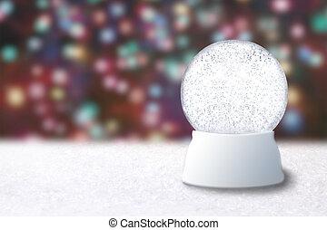 tom, snö glob, på, a, jul, suddig fond