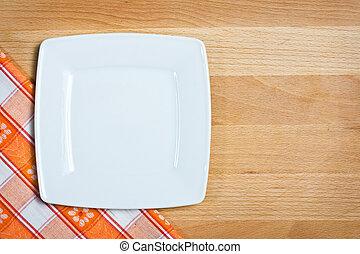 tom, tallrik, på, bordduk, över, trä, bakgrund