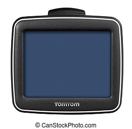 Tom Tom GPS car navigation with handle. Black electronic map device.