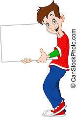 tom, tonåring, holdingen, underteckna
