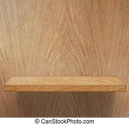 tom, trä, hylla, eller, bokhylla