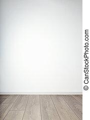 tom vägg, &, trä golvbeläggning