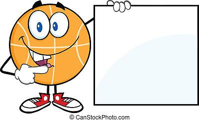 tom, visande, basketboll, underteckna