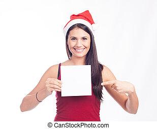 tom, visande, kvinna, jultomten, underteckna