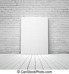 tom, vit, affisch