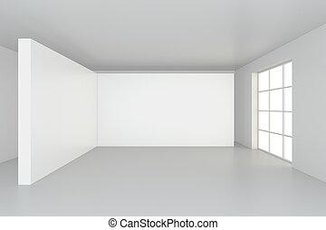 tom, vit, affischtavla, in, enkel, interior.