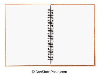 tom, vit, anteckningsbok, isolerat, spiral