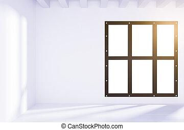 tom, vit, loft, inre, med, solljus