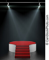 tom, vit, podium, isolerat, på, svart