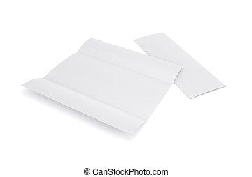 tom, vit, tri, hoplagd, häfte, mockup, öppnat, och, stängd, isolerat, vita, bakgrund., tom, mall, häfte, för, din, design., 3, rendering.