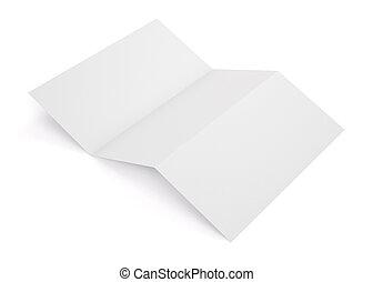 tom, vit, tri, hoplagd, häfte, mockup, isolerat, vita, bakgrund., tom, mall, häfte, för, din, design., 3, rendering.
