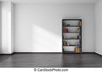 tom, vita rum, med, svart, bokhylla, inre