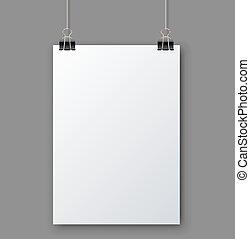 tom, vita sida, hängande, mot, grå, bakgrund, vektor, template.