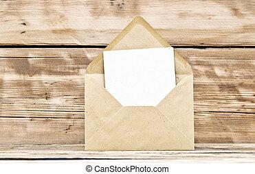 tom, vykort, och, kuvert, på, gammal, trä, bakgrund
