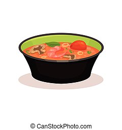 Tom Yam Kung spicy soup, Thai cuisine vector Illustration on...