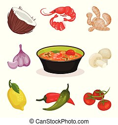 Tom Yam Kung spicy soup with ingredients, Thai cuisine...