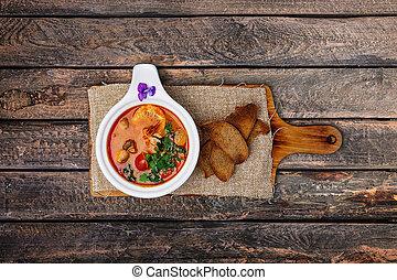 Tom Yam soup with prawns.