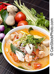 Tom Yum Goong thai food with ingredient for cooking
