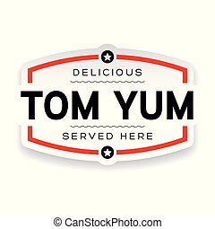Tom Yum label vintage sign vector