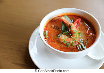 Tom Yum soup ,Thai traditional spicy prawn soup