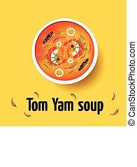 Tom yum - thai spicy soup. Top view