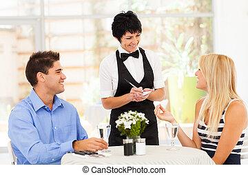 toma, amistoso, centro envejecido, orden, camarera