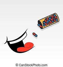 toma, boca, píldoras