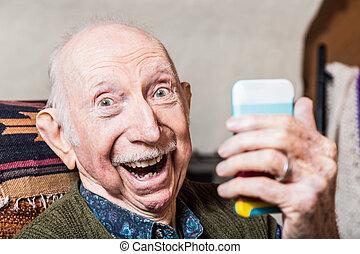 toma, caballero, selfie, más viejo