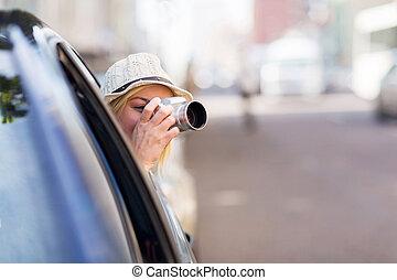 toma, coche, dentro, turista, fotos
