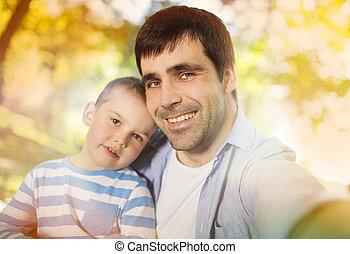 toma, hijo, padre, selfie, naturaleza