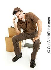 toma, interrupción, agotado, agente de mudanzas