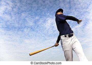 toma, jugador, beisball, plano de fondo, columpio, nube