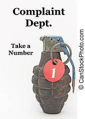 toma, número, granada, mano
