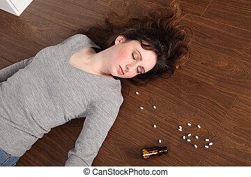 toma, píldoras, adolescente, sobredosis, problema, niña