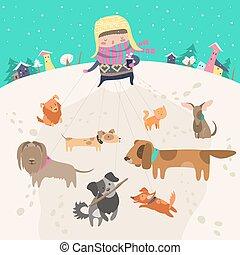toma, perros, dog-walker, niña, walk., paquete