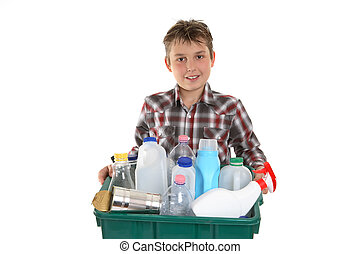 toma, reciclaje, basura, afuera