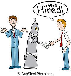 toma, trabajos, robot