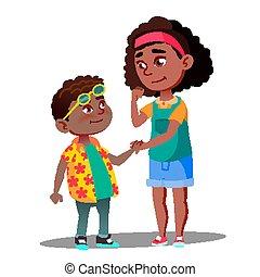 toma, vector., niña, afro, tímido, norteamericano, aislado, mano, niño, ilustración, sonriente