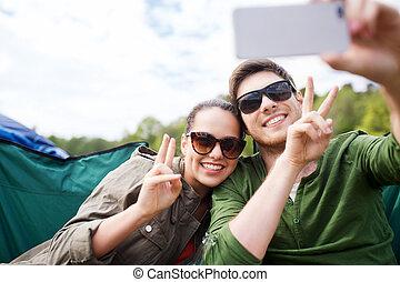toma, viajeros, selfie, smartphone, pareja